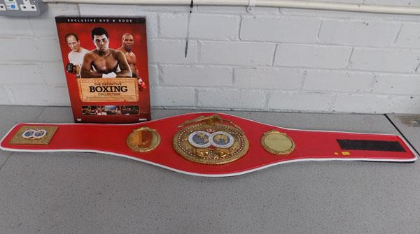 IBF Boxing World Championship presentation belt with 'The Definitive Boxing Collection'
