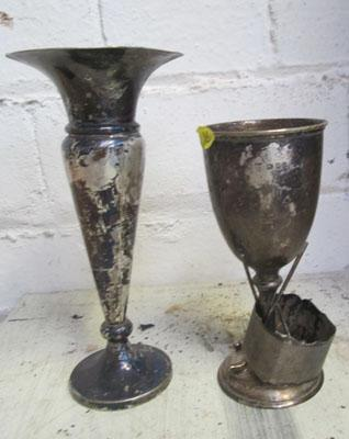 Silver trophy and vase and napkin ring