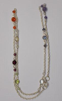 Sterling silver multi gemstone necklace
