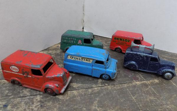 5x Dinky vans Esso, Ovaltine, Dunlop, Chivers + 1 other