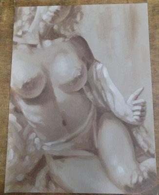 Signed painting on board of 'Nude' by J Silver