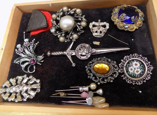 Selection of brooches and hat pins