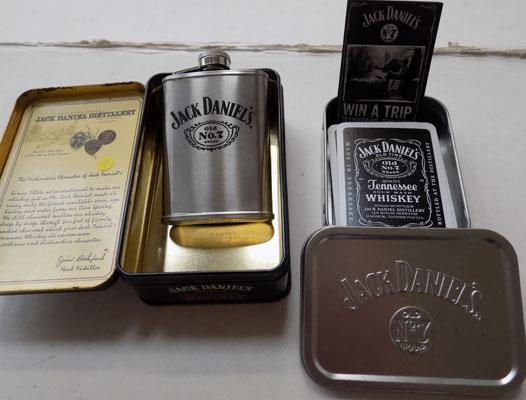 Jack Daniels hip flask & playing cards