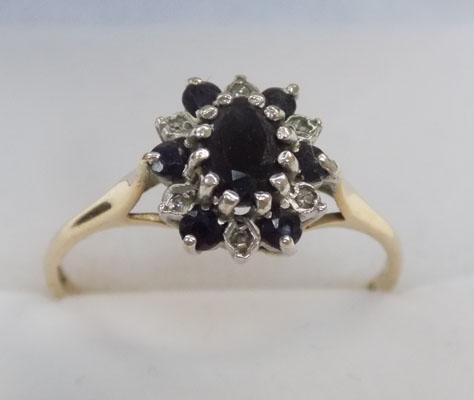 9ct gold diamond and sapphire cluster ring size N