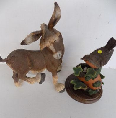 Donkey ornaments and country artists robin ornament