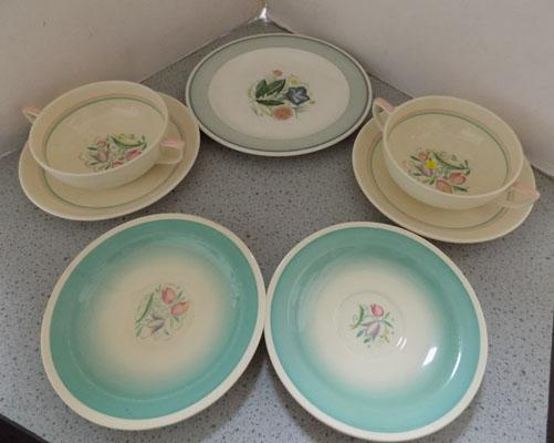 Two soup bowls & three plates (Suzie Cooper)