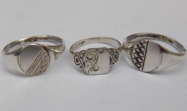3 silver signet rings