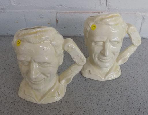 2x Tom Finney preston northend character jug by Woods Pottery