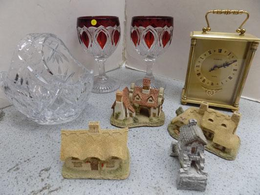 Tray of houses by David Winter & clock & vintage lead crystal