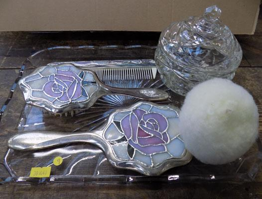 Vintage glass powder puff and tray with dressing table set