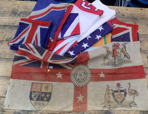 Collection of old and vintage flags english plus round USA table cloth