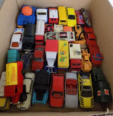Box of diecast cars and vans including Corgi and Burago