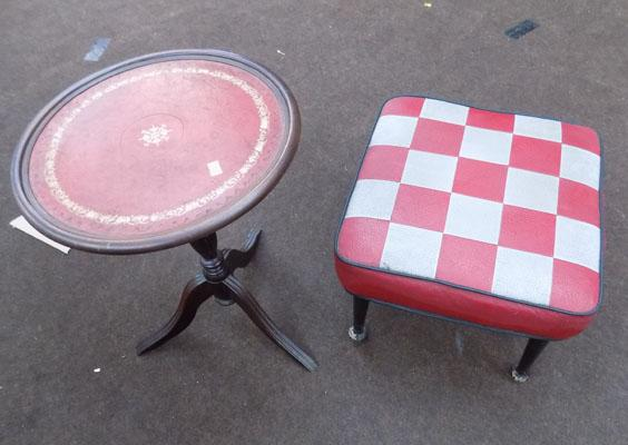 Vintage red and grey footstool & small round table
