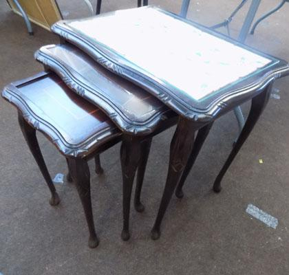 Nest of 3 glass topped tables