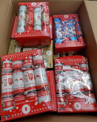 Large box of Christmas crackers
