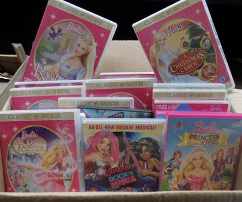 Box of barbie DVDs