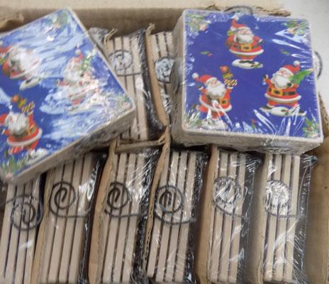 Box of new Christmas coasters