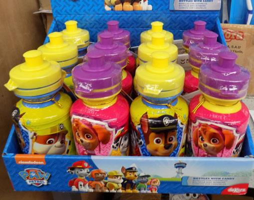 12 new Paw Patrol drinking bottles with sweets