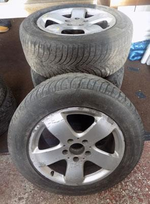 Set of four Mercedes alloy wheels and tyres