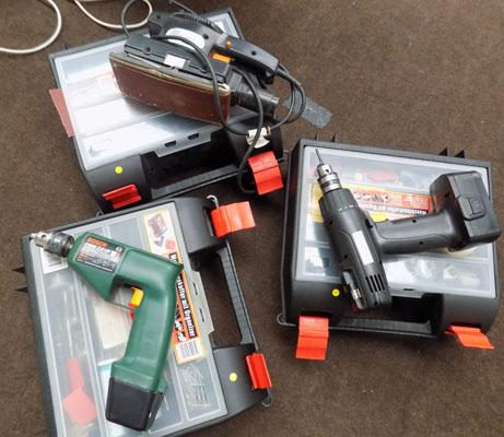 3x Cases, Bosch drills & sander-no chargers etc