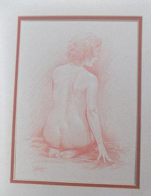 Drawing of nude signed J Silver