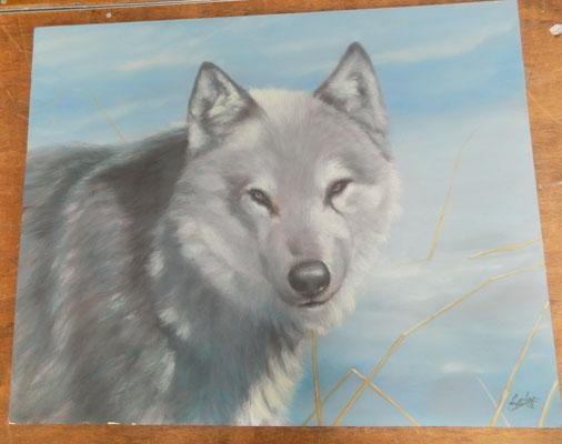 Signed painting on board of 'Wolf in the snow'by J Silver