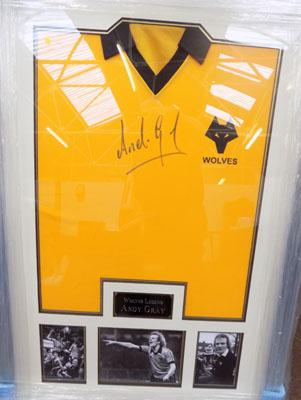 Framed Andy Gray signed shirt
