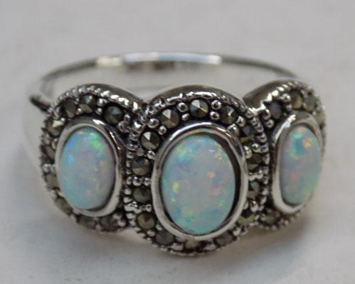 Silver Opal & Marcasite ring