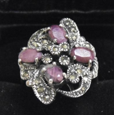 Silver ruby & marcasite ring