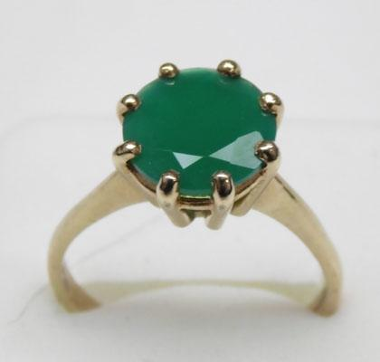 9ct gold, 3+carat emerald, solitaire ring size approx. size U