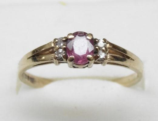 9ct gold, ruby and diamond cluster ring approx. size O1/2