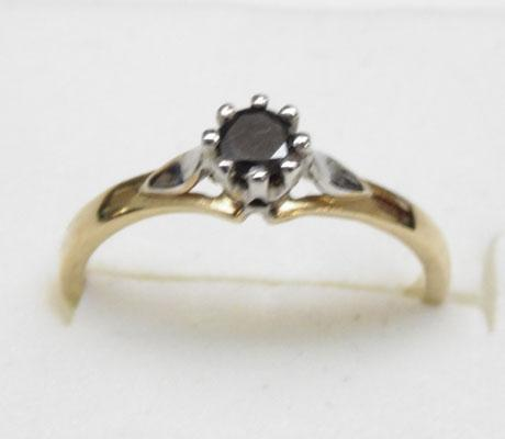 9ct gold black diamond solitaire ring approx. size L