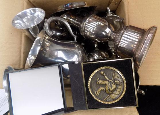Box of mixed trophy's & others