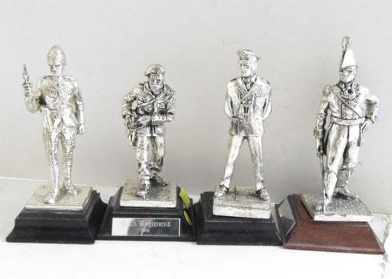 4 Royal Hampshire silver on pewter guards