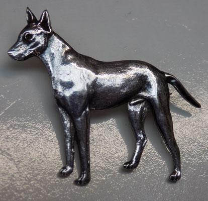 Sterling silver dog brooch - great detail