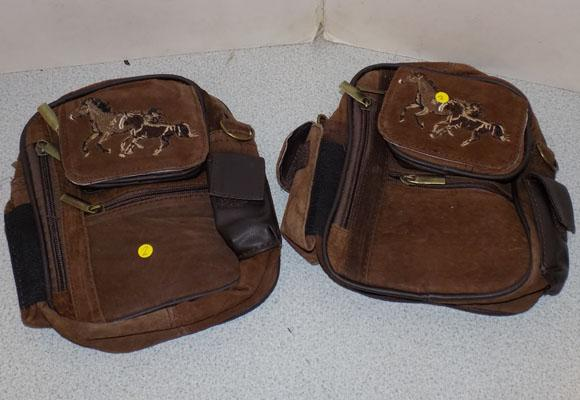 2 suede horse embroidery satchels