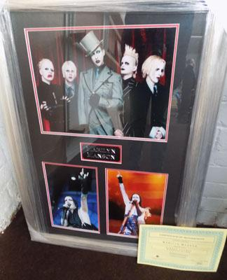 Framed picture Marilyn Manson, signed and certificate
