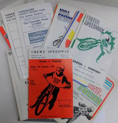 Box of 30+ Speedway, Rugby, Cricket vintage programmes