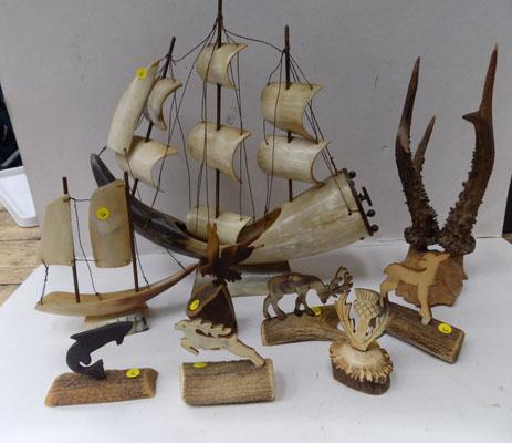 Vintage ship, horns and horn ornament