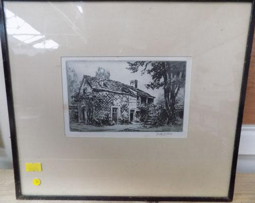 Cottage picture in frame, signed