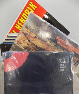 Box of collectable records incl. Pink Floyd, Black Sabbath, Jimmy Hendrix & many more