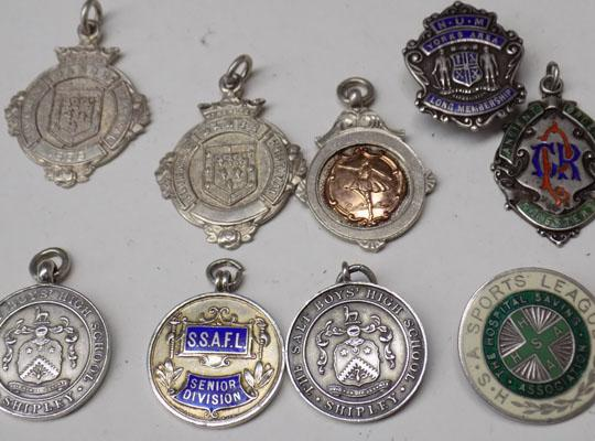 9x925 Silver medals & badges 80gms