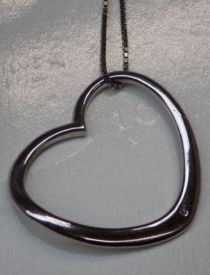 Large sterling silver heart pendant on silver chain