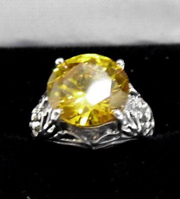 Silver & yellow stone ring