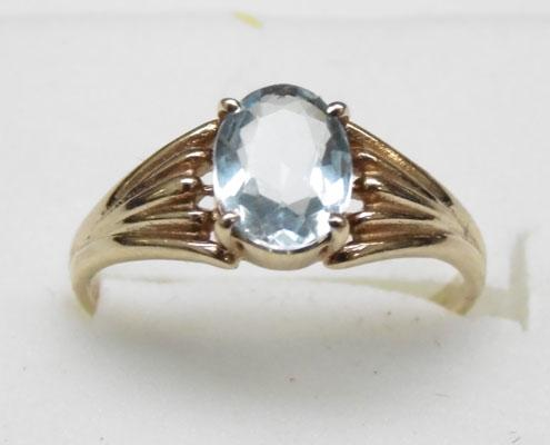 9ct gold aquamarine ring approx. size N
