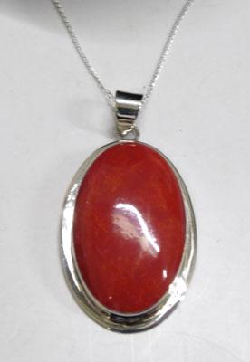Silver & coral pendant on silver chain