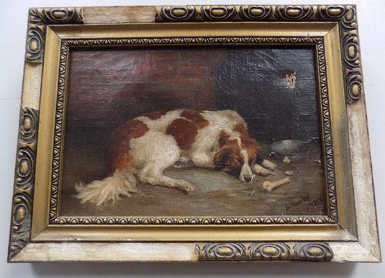 Oil on canvas H Tundley 1873-Dogs sleeping Frame damaged and picture has damage and small hole on it to top right