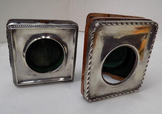 2x Antique pocket watch silver holders