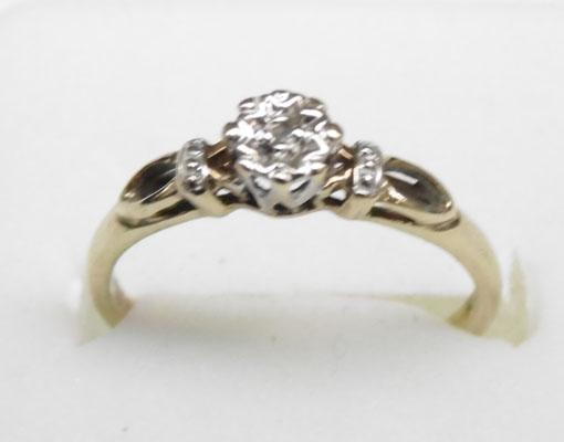 9ct gold diamond solitaire ring approx. size M1/2
