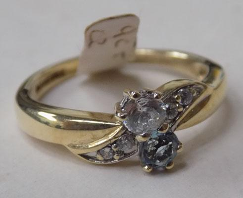 9ct Gold CZ & blue Topaz ring